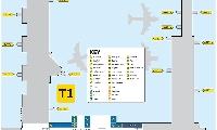 墨爾本機場1號航站樓平面地圖(mezzanine floor)