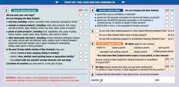 新西蘭出入境卡怎麽填寫